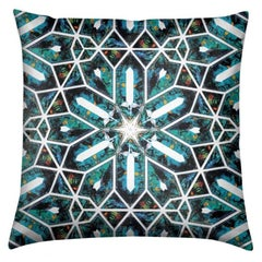Buzios Print Blue Tourmaline Pillow by Lolita Lorenzo Home Collection