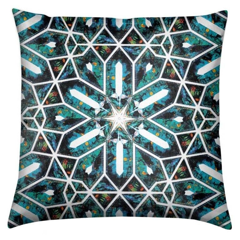 Buzios Print Blue Tourmaline Pillow by Lolita Lorenzo Home Collection For Sale