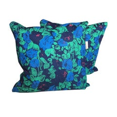 Rare Stunning Screenprinted Denim Floral Blue Green Vintage Cushion Collection