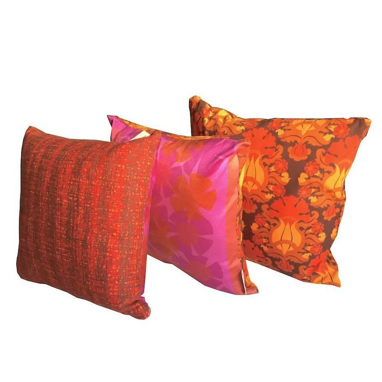 Hot Pink Bright Orange Retro Floral Vintage Geometric Fabric Cushion Collection