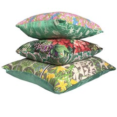 Green Yellow Pink Candy Coloured Maximalist Floral Vintage Cushions Collection