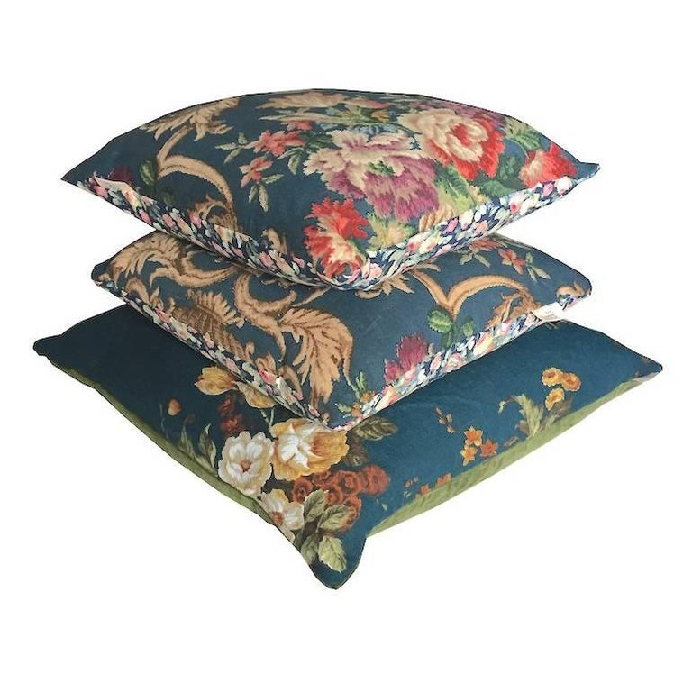 Antique Fabric Blue Floral Linen Green Velvet Vintage Cushions Collection