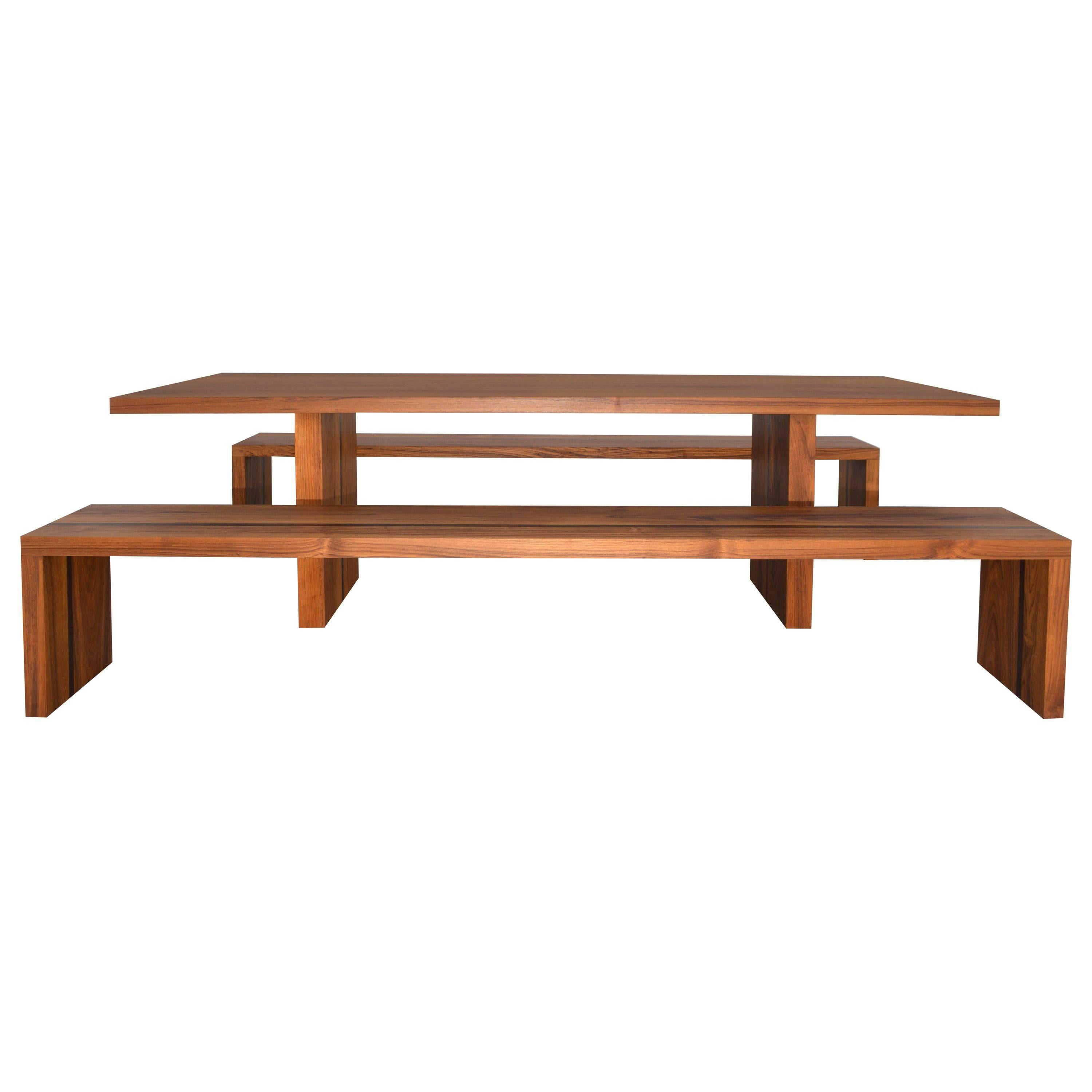 Outdoor Table And Benches In Teak And Wenge, Custom Made By Petersen  Antiques For Sale At 1stdibs