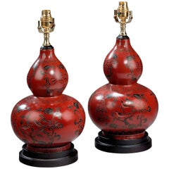 Late 20th Century Single Iron Red Gourd-Shaped Lamps