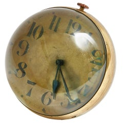 Very Large Continental Glass Ball Clock with Gilt Dial, Swiss Movement