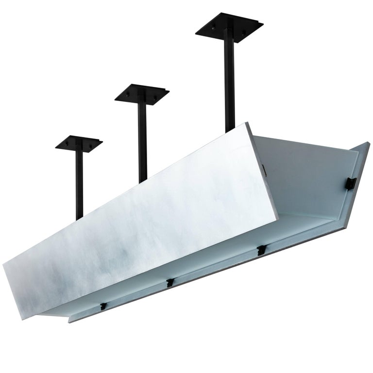 FERRER Metal and Glass Large Linear Pendant 001 For Sale