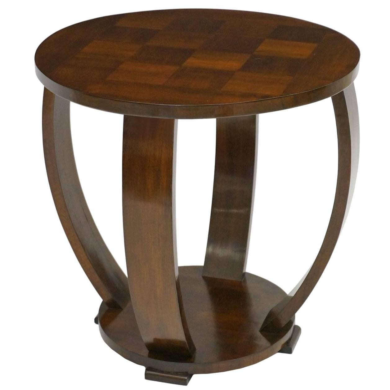 French Art Deco Circular Walnut Wood Side Table With Curved Supports, Circa  1930 1