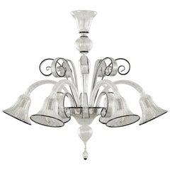 Italian Deco Style Murano Blown Glass Chandelier Silver Leaf and Black Trimmings