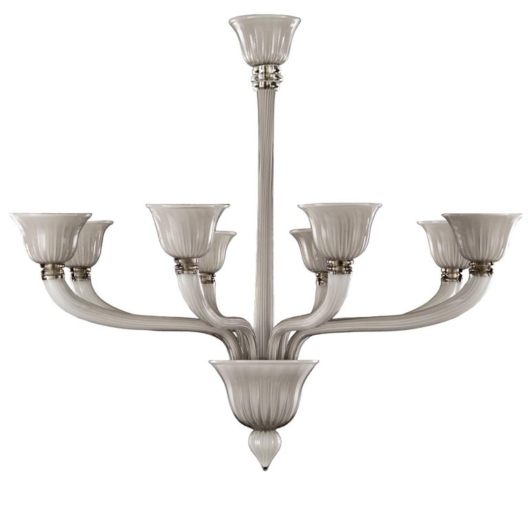 "Original Italian Deco Style Murano ""Incamiciato"" Glass Chandelier Opaque Grey"