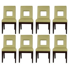 Set of Eight Green Square Back Chairs