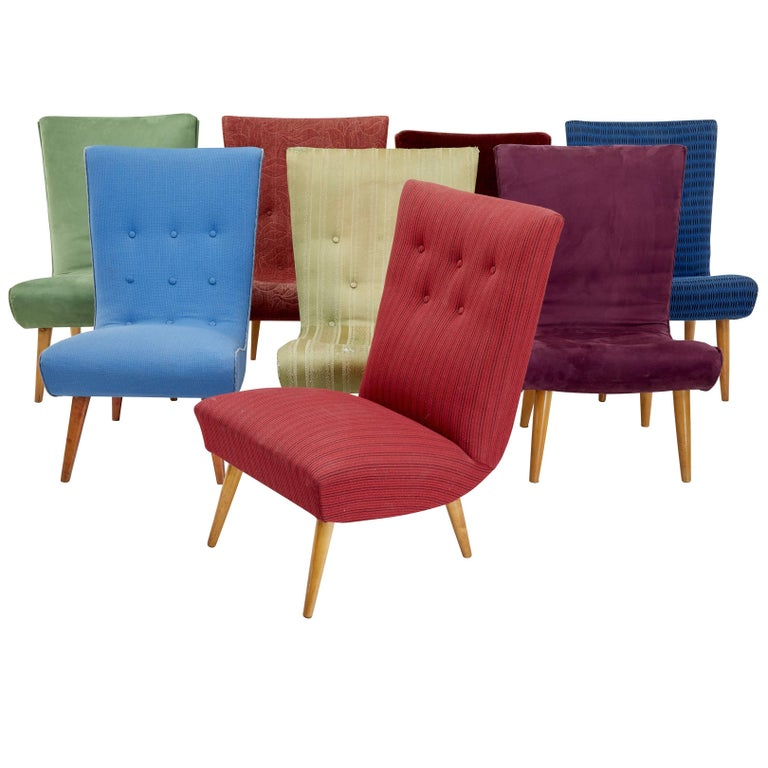 Collection of Eight Scandinavian Modern Lounge Chairs
