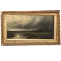 19th Century Barbizon School Landscape Oil Painting of Storm over Marsh