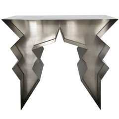Stainless Steel Lightning Bolt Sculptural Console Table