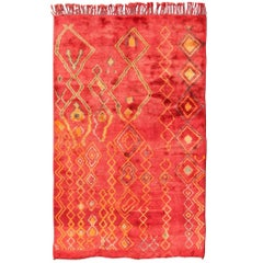 Vintage Moroccan Rug with Rich Red Field and Scattered, Vivid Tribal Designs