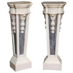 Pair of French Louis XVI Style, Two-Toned Carrera and Grey Marble Pedestals