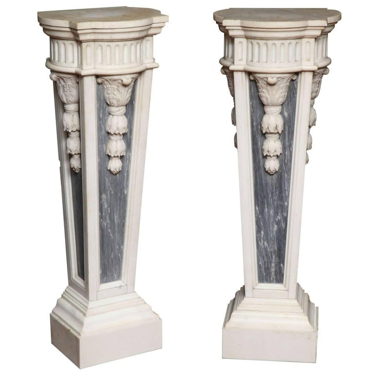 Pair of French Louis XVI Style, Two-Toned Carrera and Grey Marble Pedestals For Sale