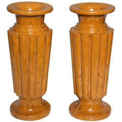 Pair of French Art Deco Carved Sienna Marble Vases