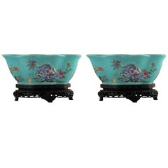 Pair of Chinese Porcelain Bowls on Stands