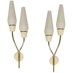 Pair Large Maison Arlus Brass Glass Mirror Sconces,   Stilnovo Gio Ponti Era