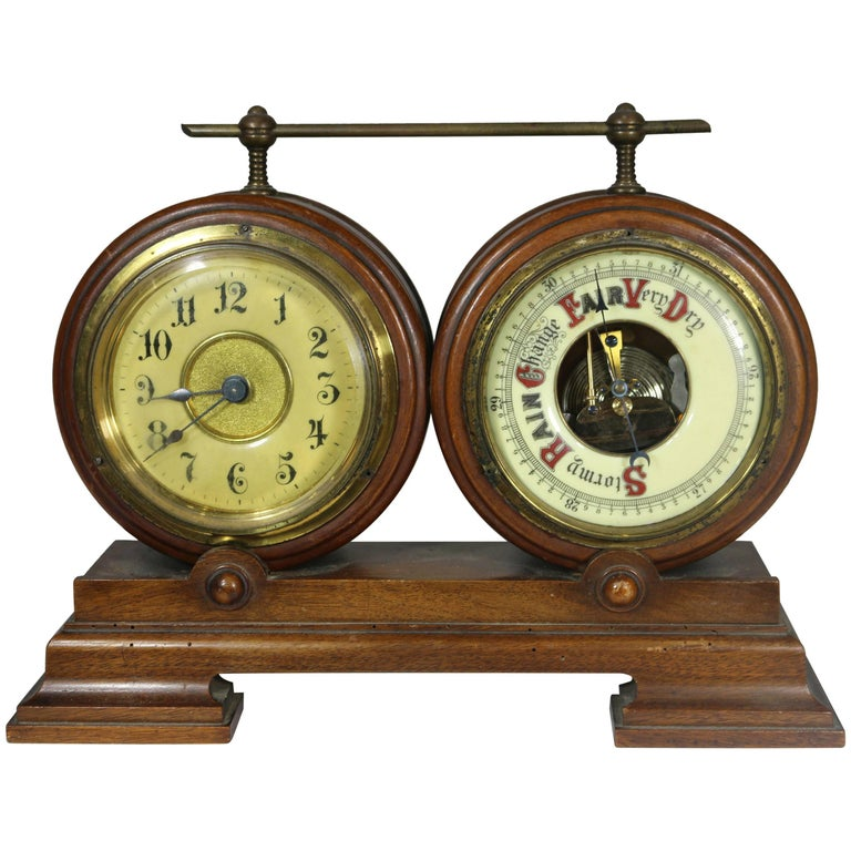 Handsome Clock and Barometer on Wood Base