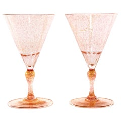 16 Art Deco Gold Flecked Pink Venetian Goblets, circa 1920s by Salviati