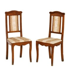 Art Nouveau Pair of Side Chairs in Walnut, New Upholstery