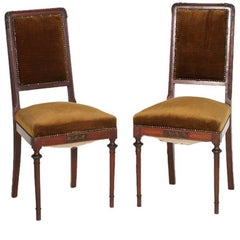 Last 19th Century Art Nouveau Side Chairs, Walnut, Velvet, Eugenio Quarti style