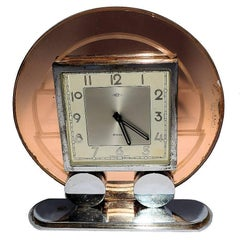 French Art Deco Modernist Mirror Clock 8 Day