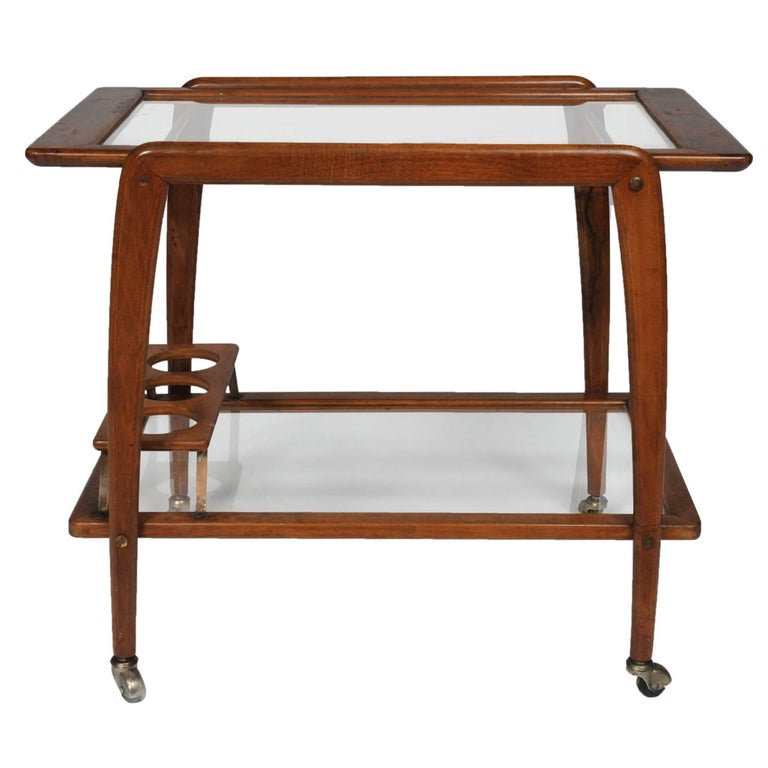 Italian Midcentury Walnut Bar Cart by Ico Parisi For Sale