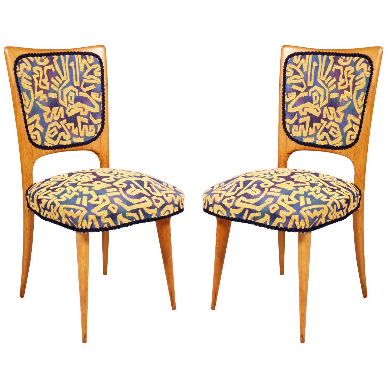 Italian Mid-Century Modern Side Chairs, Gio Ponti atributed, Pink Maple Wood