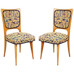 Pair of Italian Mid-Century Modern Side Chairs, Gio Ponti Style, Pink Maple Wood