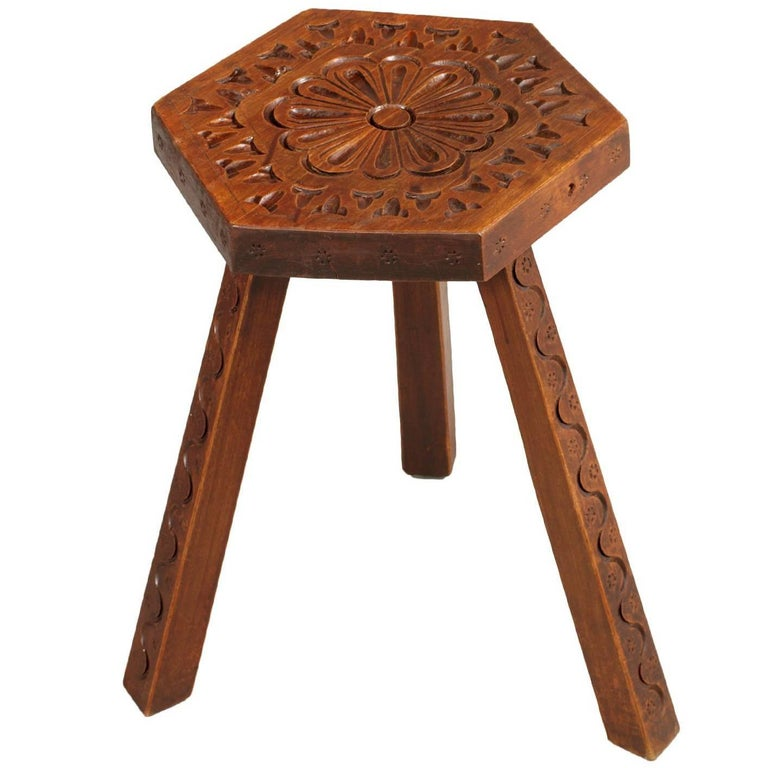 Early 20th Century Italy Country Stool Signed Cortina Dolomiti Hand-Carved Wood