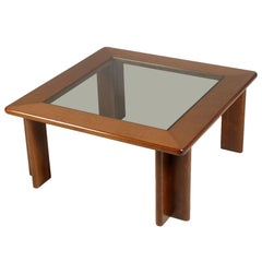 Mid-Century Modern Coffee Centre Table Tobia Scarpa Manner Lacquered Walnut