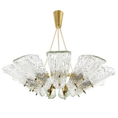 Large Kalmar Pendant Light or Chandelier, Brass and Glass, 1950, One of Four
