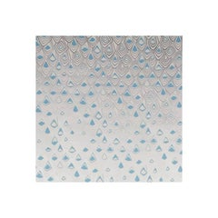 Boho Diamond Screen Printed Wallpaper in Metallic Silver and Fairy Blue on Snow