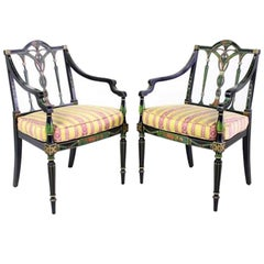 Pair of Paint Decorated Ebonized Armchairs