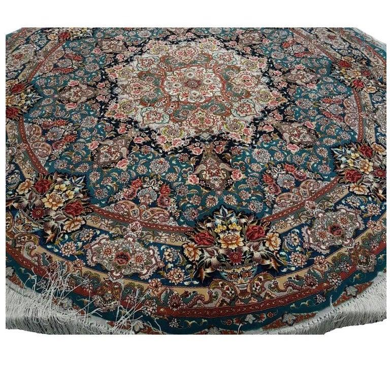 Master Salari Round Turquoise Hand-Knotted Persian Tabriz Rug
