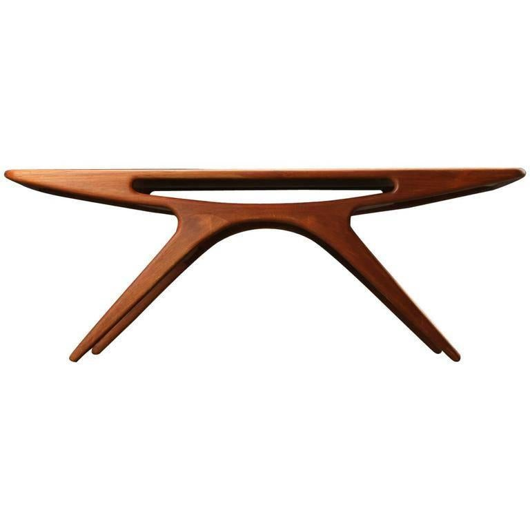 "1950s Johannes Andersen ""The Smile"" Coffee Table in Teak by CFC Silkeborg For Sale"