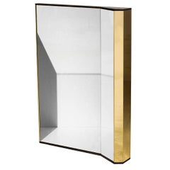 Freestanding Wood Board Framed Mirror K1 with Polished Brass Elements