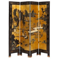 Early 20th Century Chinese Black Lacquer Gold Leaf Decorated Four-Panel Screen