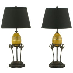 Pair of Frederick Cooper Swan and Ostrich Egg Form Table Lamps