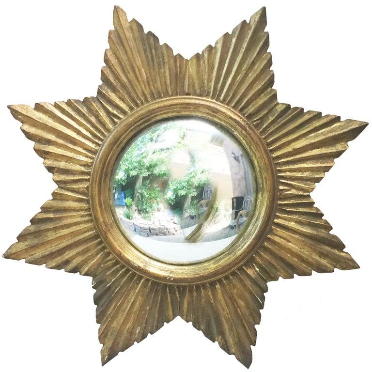 French Convex Sunburst Gilded Mirror