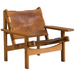 Erling Jessen Cognac Leather and Oak Lounge Chair