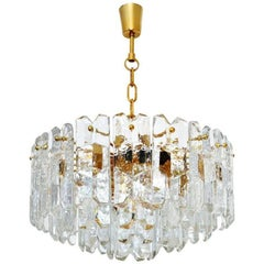 Kalmar Ice Glass Chandelier, Gilt Brass Glass, 1970s