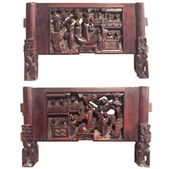 Pair 19th Century Carvings, Celebration Theme