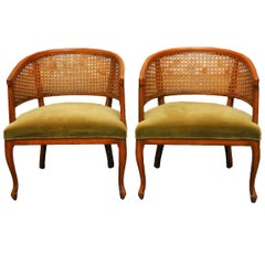 Pair of Mid-Century Caned Barrel Back Armchairs