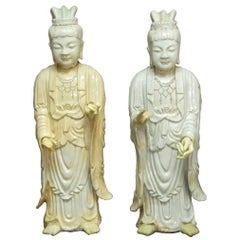Pair of Chinese Glazed Ceramic Celestial Guanyin Deities