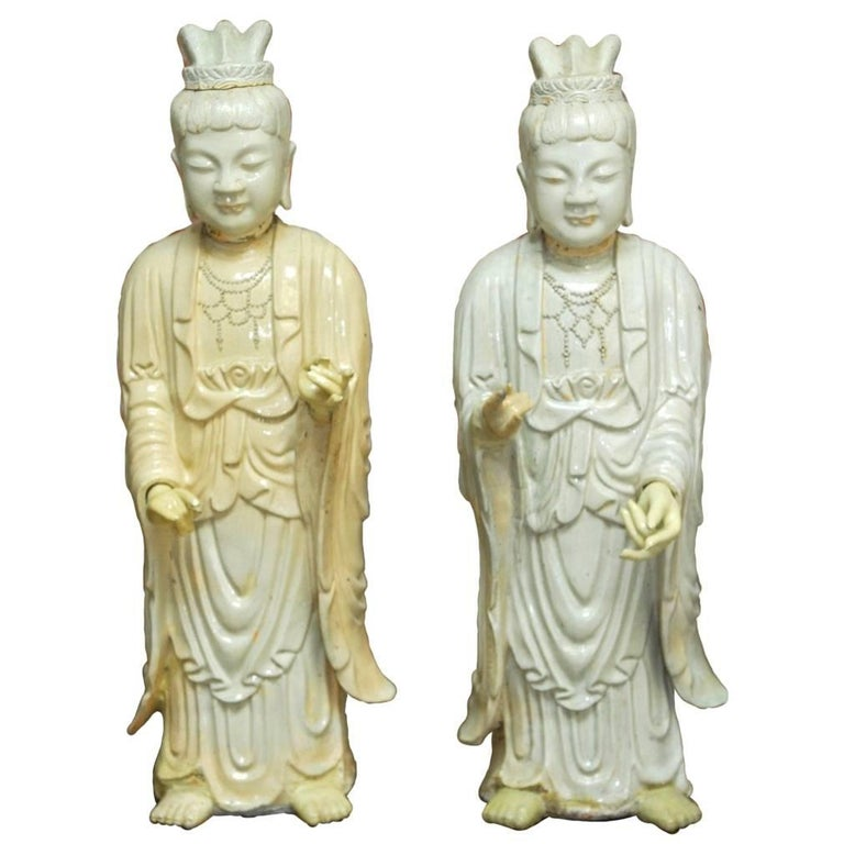 Pair of Chinese Glazed Ceramic Celestial Guanyin Deities