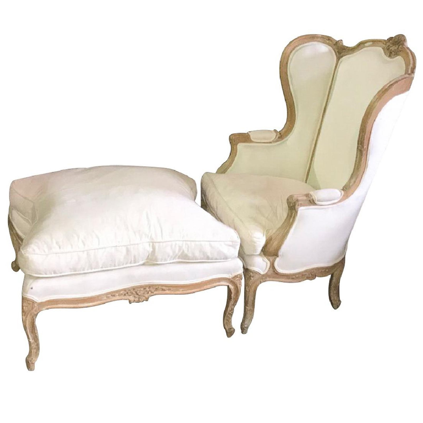 French Louis XVI Style Carved Bleached Walnut Bergere with Ottoman, 19th Century