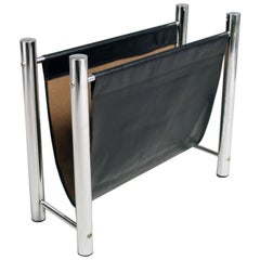 1960s Mid-Century Modern Chrome and Leatherette Magazine Rack Zanotta Attributed